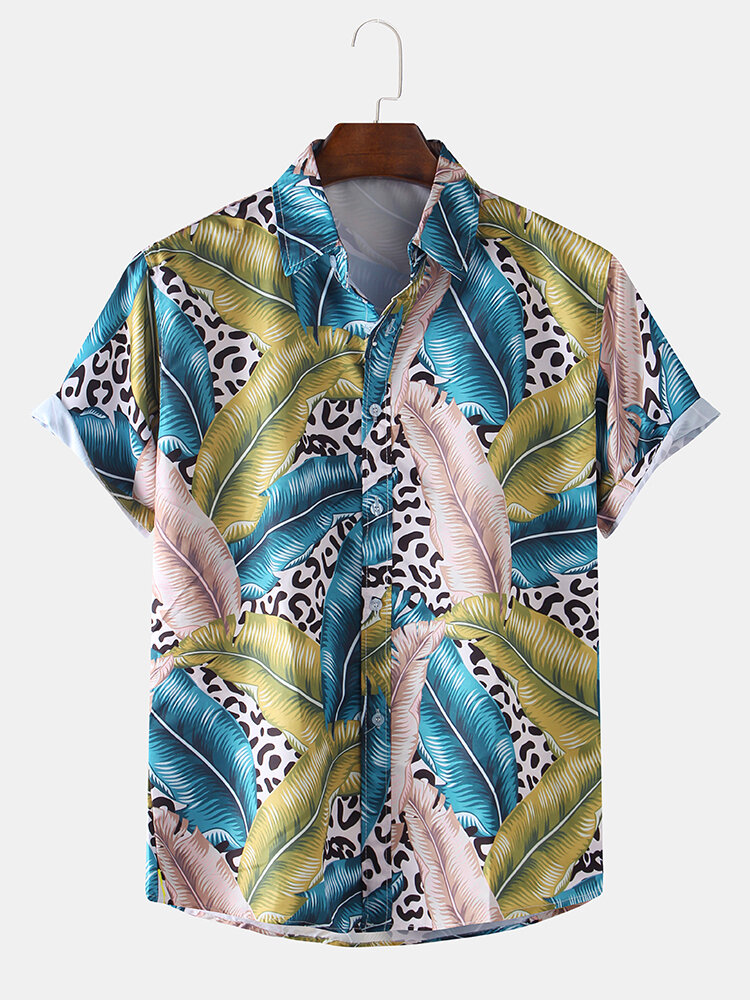 Mens Tropical Plant Leopard Toucan Printed Short Sleeve Floral Shirt