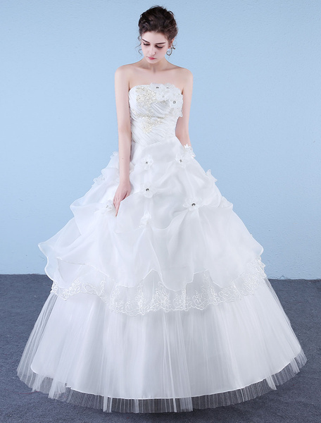 Milanoo Princess Wedding Dresses Ball Gown Strapless Ivory Beaded Floor Length Bridal Dress