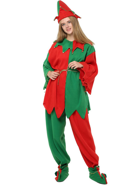 Milanoo Christmas Elf Costume Outfit 4 Piece For Women Halloween