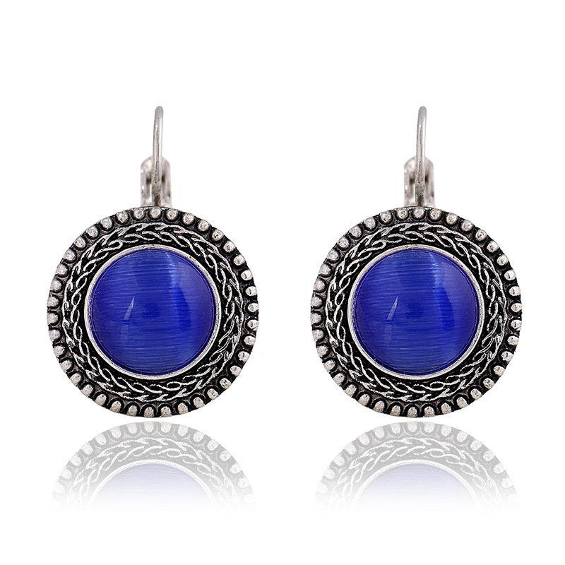 Ethnic Opal Dangle Earrings Carved Vintage Tibetan Silver Bohemian Crystal Earrings for Women