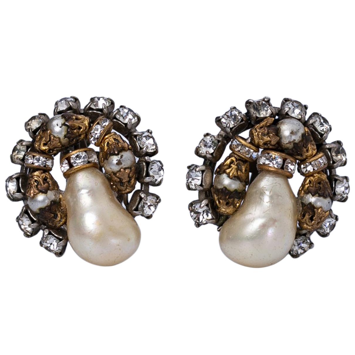 Chanel Baroque Gold Metal Earrings for Women N