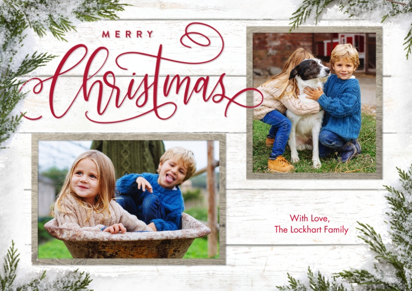 Christmas Photo Cards Flat Matte Photo Paper Cards with Envelopes, 5x7, Card & Stationery -Christmas Evergreen Snapshots by Tumbalina