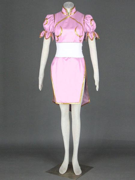 Milanoo Pink Chun-Li Faux Leather Street Fighter Cosplay Costume Halloween