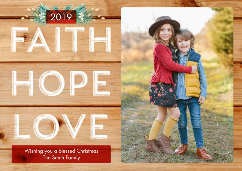 Christmas Photo Cards 5x7 Cards, Premium Cardstock 120lb with Elegant Corners, Card & Stationery -Rustic Faith Hope Love by Hallmark