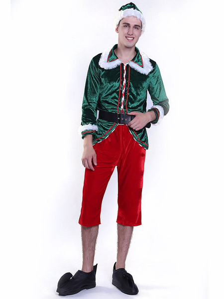 Milanoo Men Christmas Elf Costume Adults Top Pants Outfit 5 Piece Set Halloween
