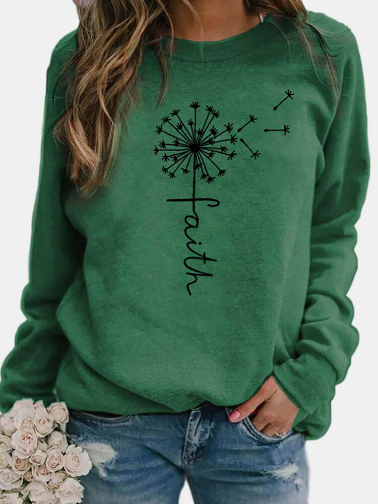 Flower Print Long Sleeves O-neck Casual T-shirt For Women