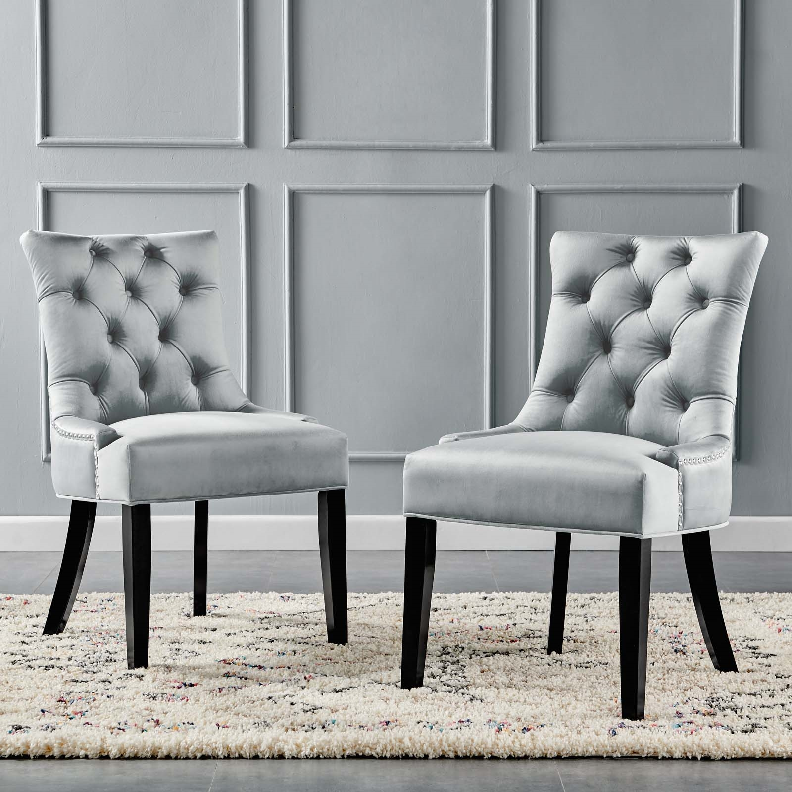 Regent Tufted Performance Velvet Dining Side Chairs - Set of 2 in Light Gray