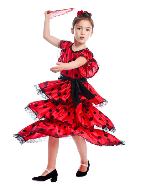 Milanoo Kids Dance Costumes Polka Flamenco Dress Paso Doble Costumes Spanish Skirt for Girls Halloween