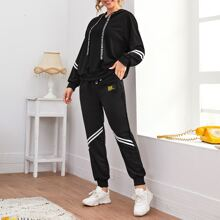 Striped Tape Letter Drawstring Hoodie With Joggers
