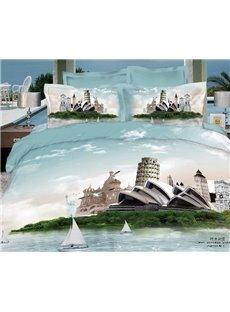 Retro Fashion Sydney Opera House & Leaning Tower Famous Building Print 3D 4 piece Dvet cover/Bedding Sets