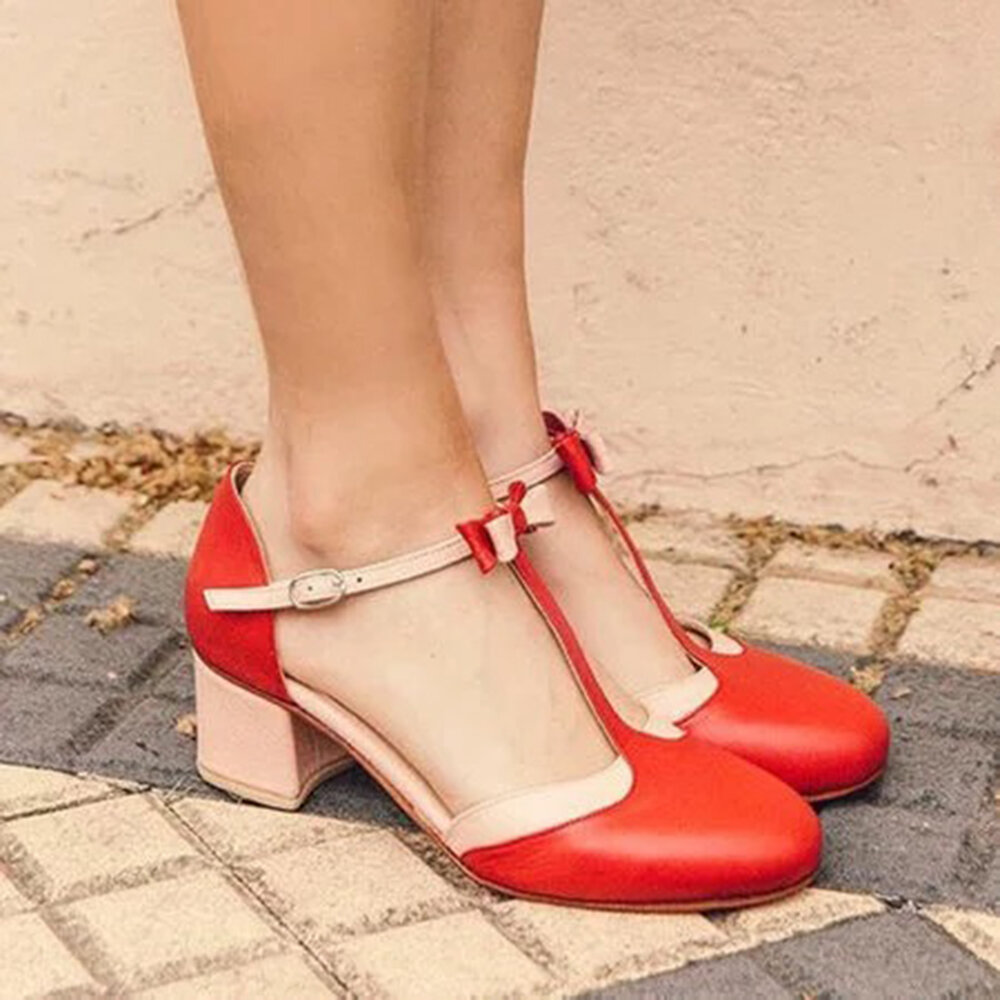 Large Size Women Bow Decor Comfy Wearable Buckle T-strap Chunky Heels