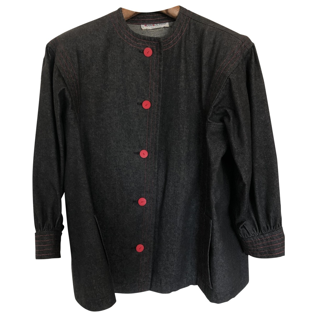 Yves Saint Laurent \N Black Denim - Jeans jacket for Women 40 FR