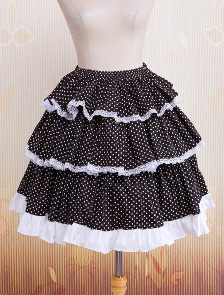 Milanoo Cotton Black Polka Dot Lace Lolita Skirt