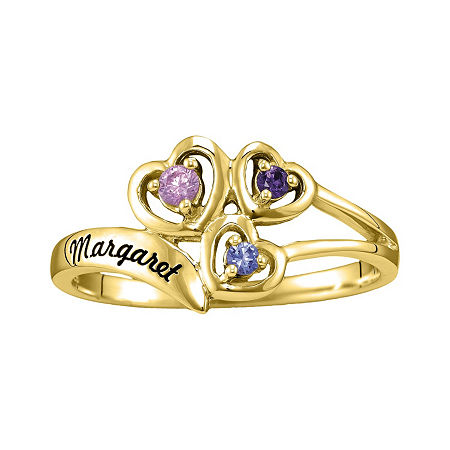 Womens Genuine Multi Color Stone 14K Gold Heart 3-Stone Cocktail Ring, 7 1/2 , No Color Family