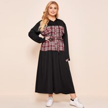 Plus Plaid Print Belted Sweatshirt Dress