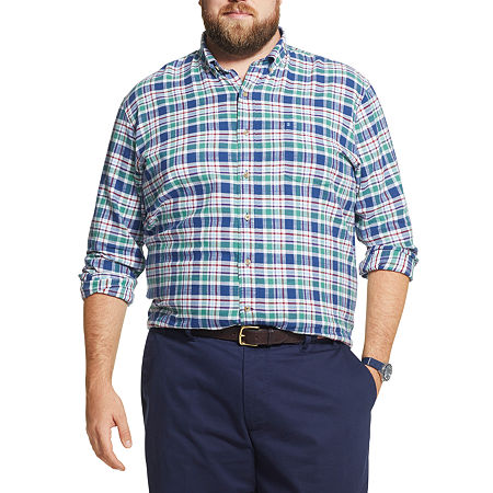 IZOD Big and Tall Plaid Button-Down Shirt, 5x-large , Red