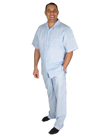 Men's Light Blue Short Sleeve Button Closure 1 Linen 2 Piece Shirt