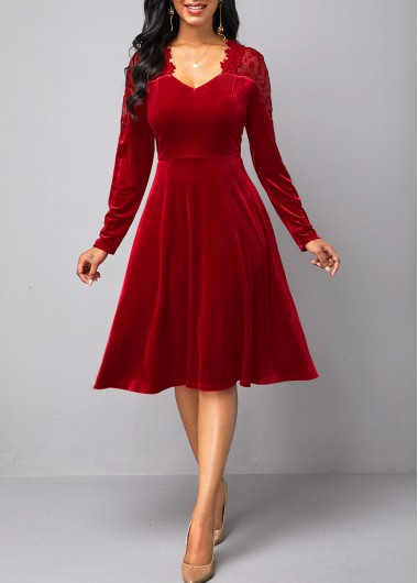 Valentine'S Day Women'S Wine Red Lace Panel Long Sleeve Velvet  Cocktail Party Dress Solid Color Zipper Back A Line Elegant Dress By - XL