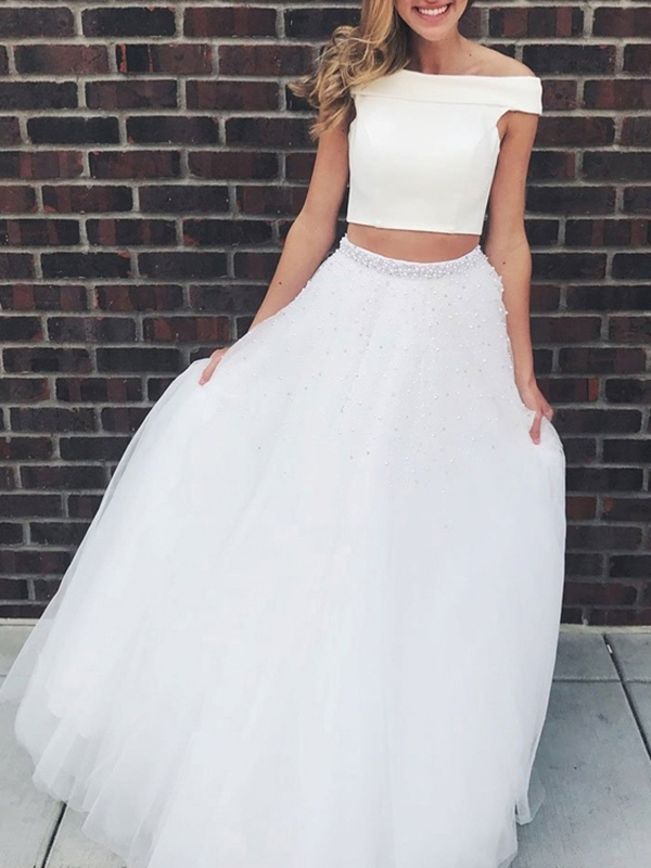 Sleeveless A-Line Beading Floor-Length Prom Dress