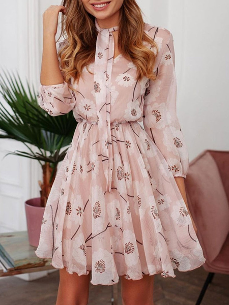 Milanoo Floral Skater Dresses Sleeved Fit And Flare Dress