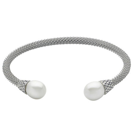 9-9.5Mm Cultured Freshwater Pearl Sterling Silver Cuff Bracelet, One Size , No Color Family