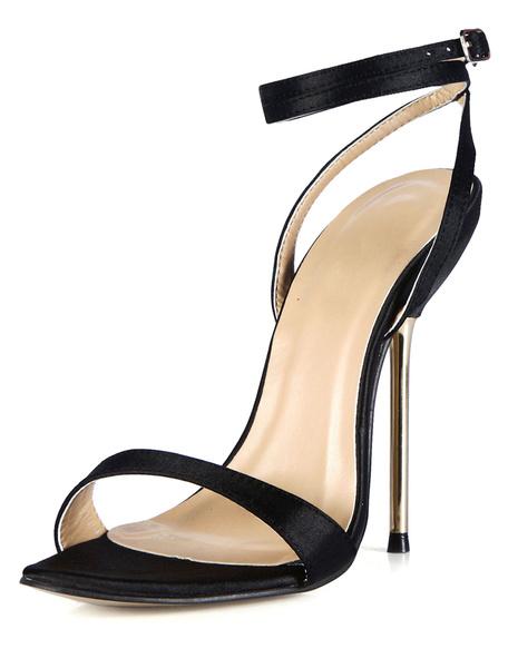 Milanoo High Heel Sandals Womens Imitated Silk Open Toe Slingback Stiletto Heels Sandals
