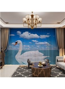 A White Swan in the Late and Blue Sky 3D Printed 2 Panels Custom Sheer
