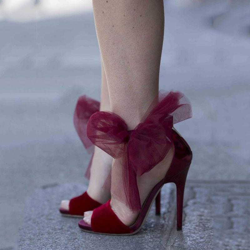 Ericdress Amazing Burgundy Lace Bowknot Stiletto Sandals