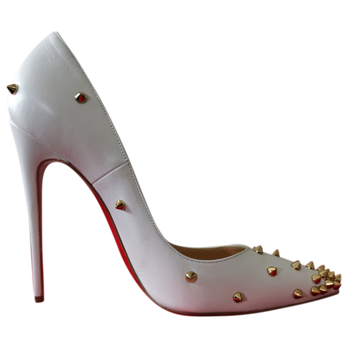 Christian Louboutin So Kate  White Leather Heels for Women 38.5 EU