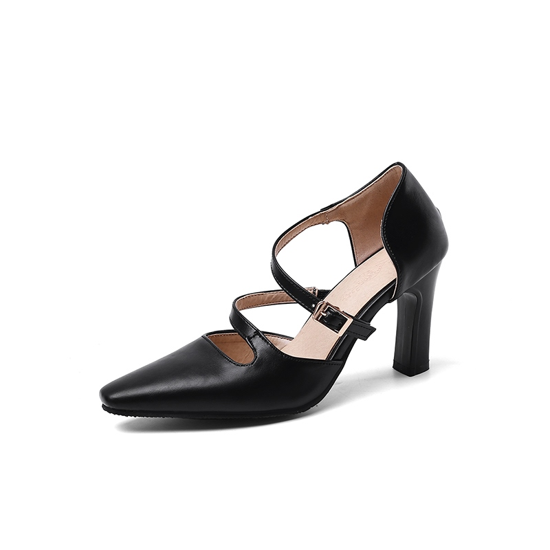 Ericdress Chunky Heel Pointed Toe Slip-On Plain Thin Shoes