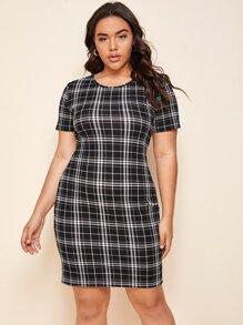 Plus Plaid Print Fitted Dress