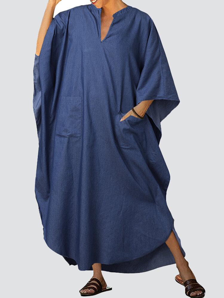 Solid Color Batting Sleeve Loose V-neck Maxi Dress For Woemn