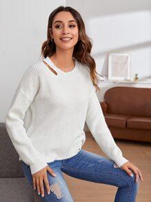 Cut Out Detail Drawstring Hem Sweater