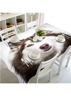 Lifelike Simple Style Wolf Prints Washable Polyester Fibre 3D Tablecloth