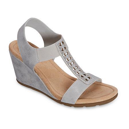 east 5th Womens Lynden Wedge Sandals, 10 Medium, Silver