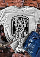 Country Music And Beer O-Neck T-Shirt Tee - Gray