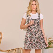 Criss Cross Back Floral Print Overall Dress