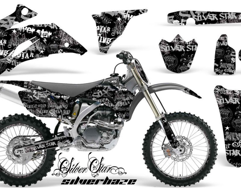 AMR Racing Graphics MX-NP-YAM-YZ250F-YZ450F-06-09-SSSH S K Kit Decal Wrap + # Plates For Yamaha YZ250F YZ450F 2006-2009áSSSH SILVER BLACK