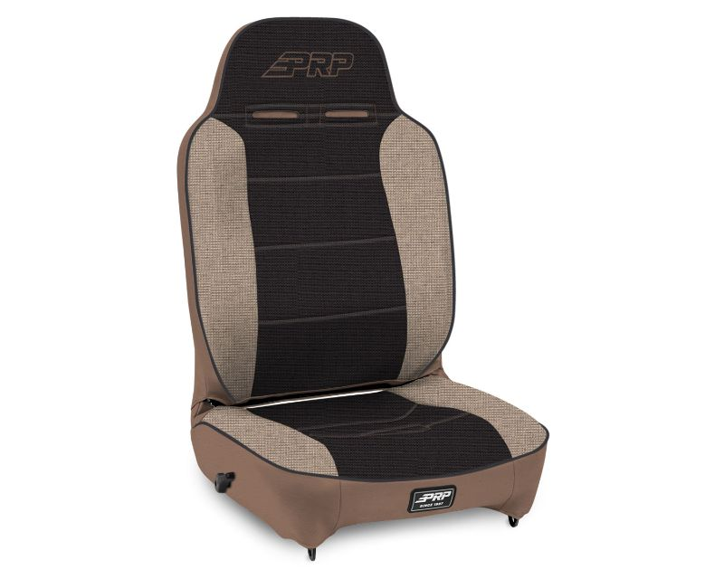 Enduro High Back Reclining Suspension Seat Black/Gray with Tan Outline PRP Seats A130110-64