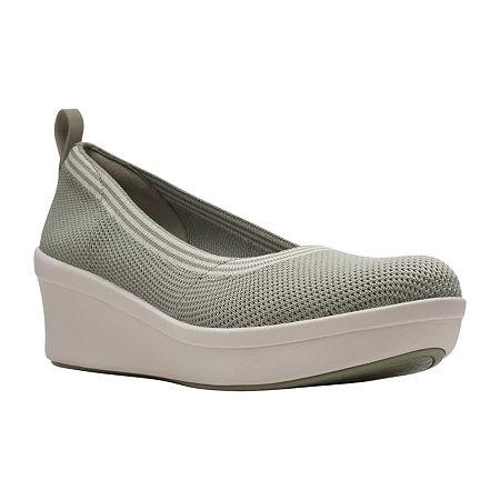Clarks Womens Step Rose Fern Slip-On Shoe, 9 Medium, Green