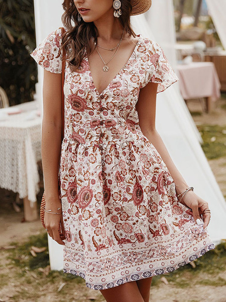 Milanoo Boho Summer Dress Light Apricot V-Neck Printed Buttons Short Beach Dress