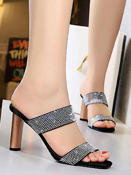 Milanoo Sandal Mules Black Square Toe Rhinestones Sandal Slides Slip-On Women\'s Shoes
