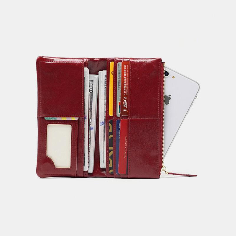 Women Oil Wax Leather 8 Card Slots Phone Bag Wallet Long Purse