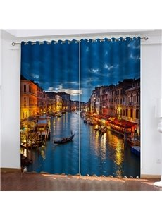 3D Fantastic Venice Night View Print Blackout Curtains 200g/m² Polyester 70% Shading Rate and UV Rays Environmentally Friendly Printing and Dyeing No
