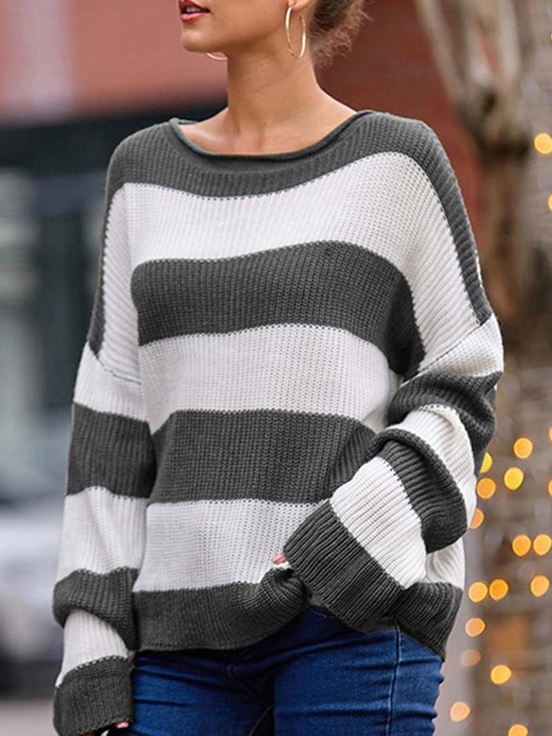 Ericdress Regular Color Block Round Neck Loose Sweater