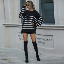 Batwing Sleeve Stripe Sweater