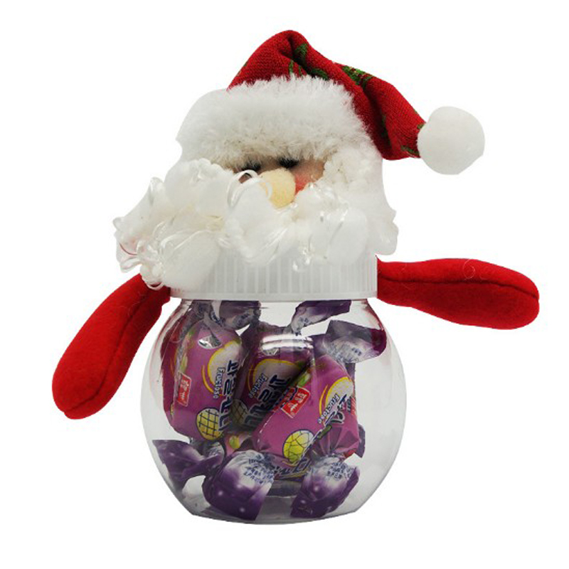 Christmas Figures with Bright Silk Scarf Transparent Candy Jar