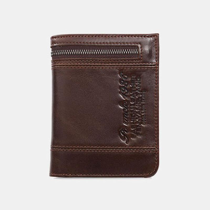 Men Genuine Leather RFID 20 Card Slots Bifold Wallet Purse