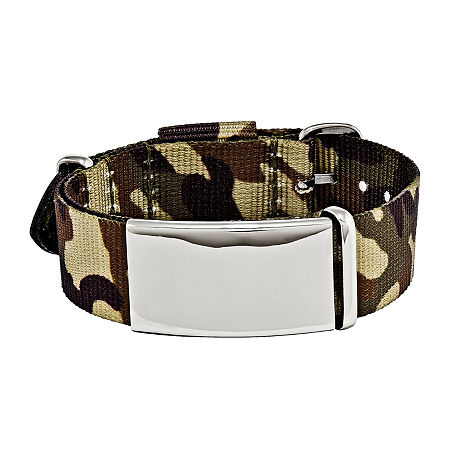 Mens Stainless Steel Brown Camo Adjustable ID Bracelet, One Size , No Color Family