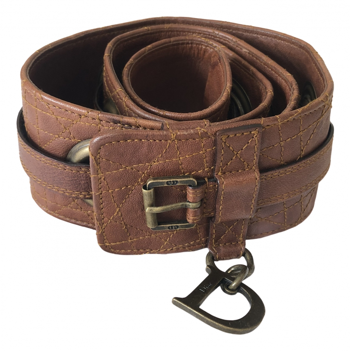 Dior \N Brown Leather belt for Women 90 cm